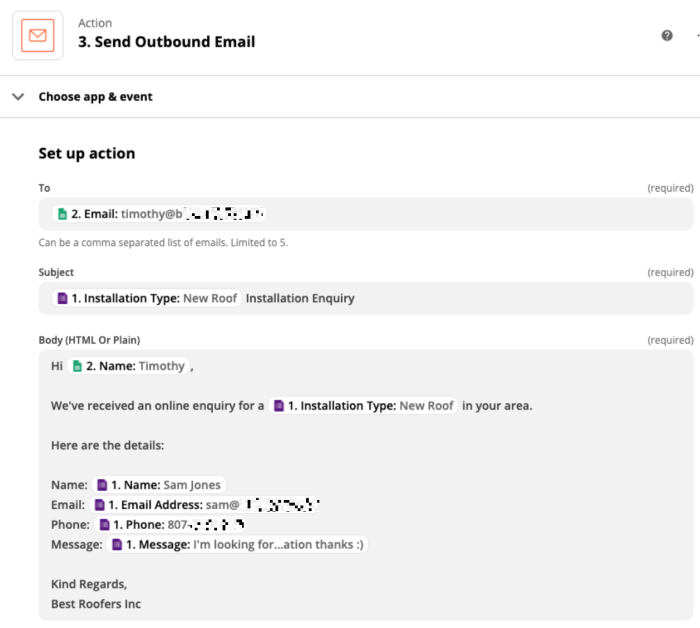 Set up action: Send Outbound Email, continued