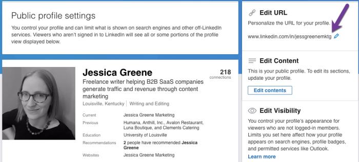 custom LinkedIn URL