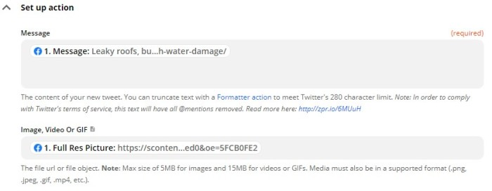 """A screenshot of the setup for the Twitter action step showing the Facebook Page message under """"Message"""" and the Facebook Full Res Picture under """"Image, Video or GIF""""."""