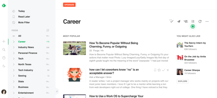 My Feedly account is a collection of RSS feeds from sites I regularly read.