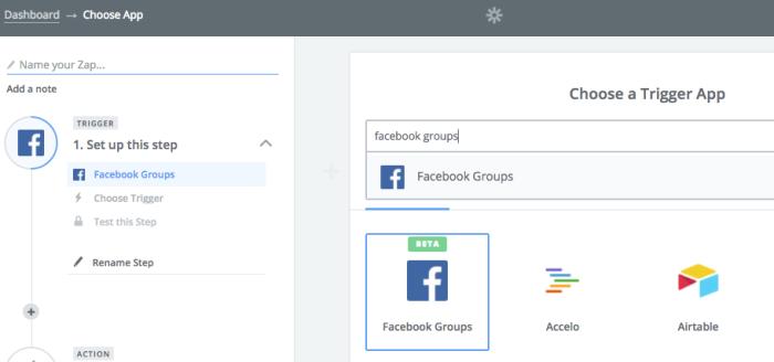 Facebook Groups Zapier
