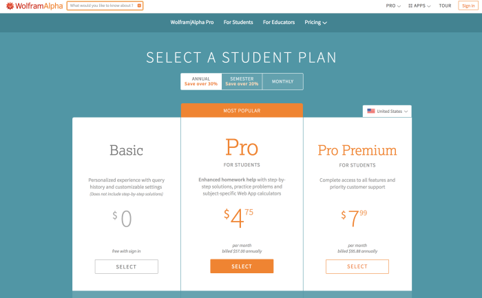 Wolfram|Alpha Pro student discount landing page.