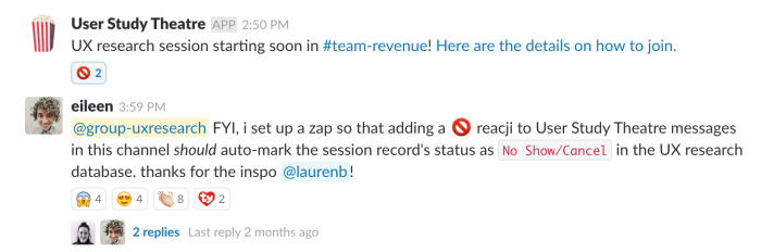 Slack message with no entry sign reacji