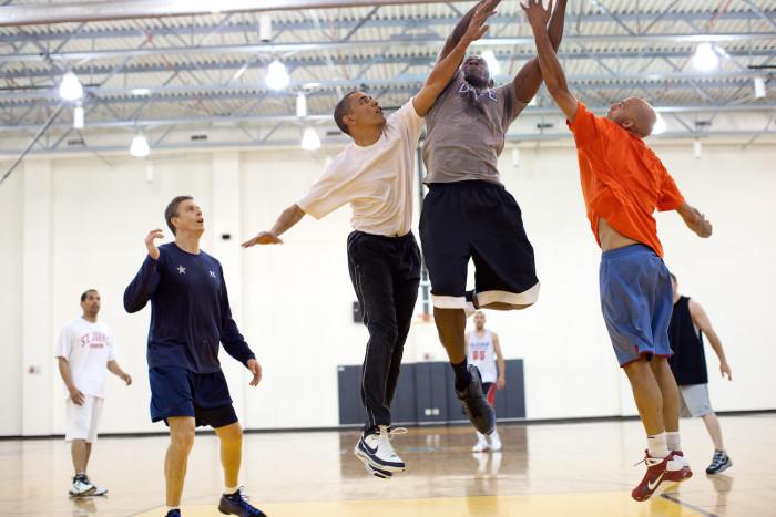 President Obama playing basketball