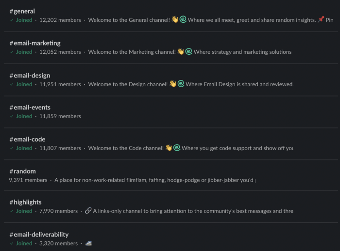 A screenshot of channels from Email Geeks