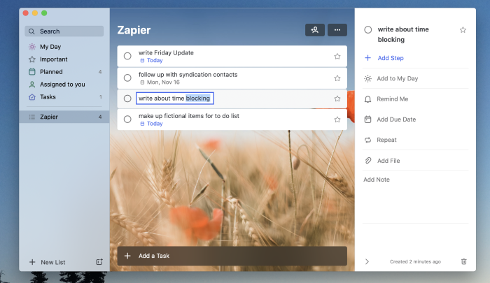 A screenshot of Microsoft To Do