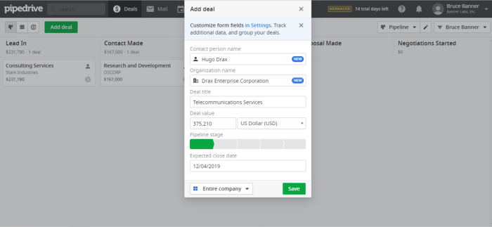 Adding a deal in Pipedrive CRM
