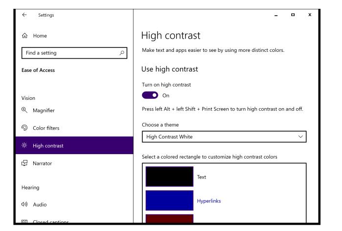 Windows 10 in high contrast modet