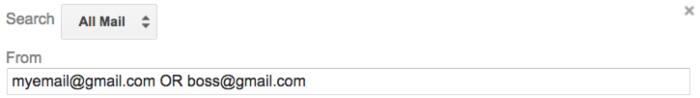 multiple emails filter