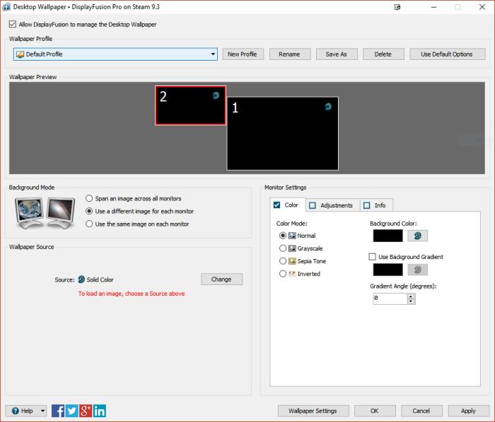 DisplayFusion settings