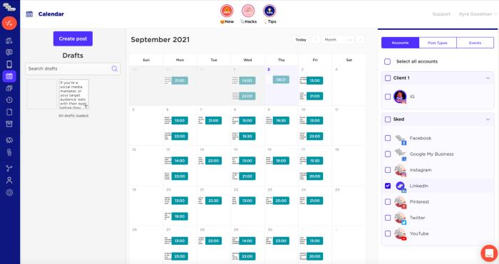 Sked Social's social media calendar