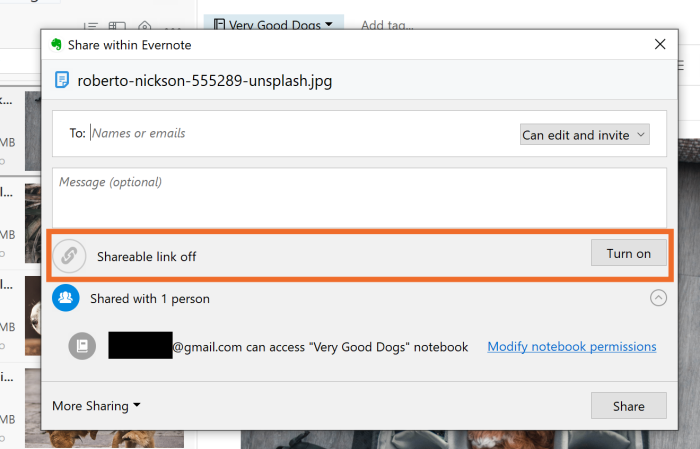 Evernote sharable link