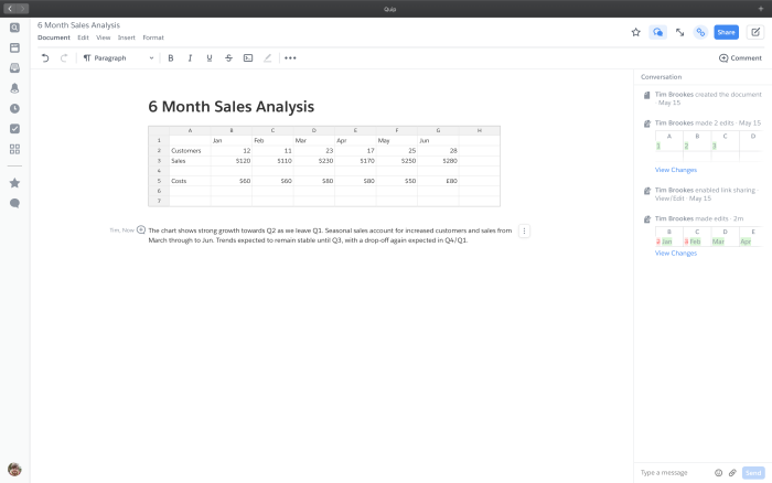 Quip spreadsheet embedded in a document