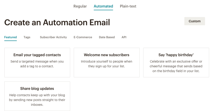 Creating an automated email in Mailchimp.