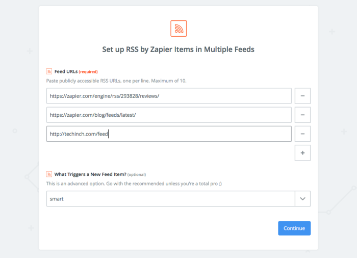 Add feeds to your Zap