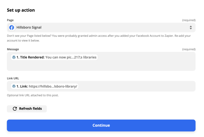Setting up the Facebook Page Post action in the Zap editor. Data from WordPress is selected for the Message and Link URL fields.