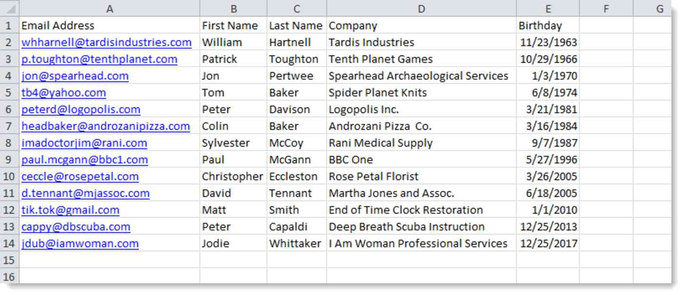 Example of spreadsheet with contact information in it