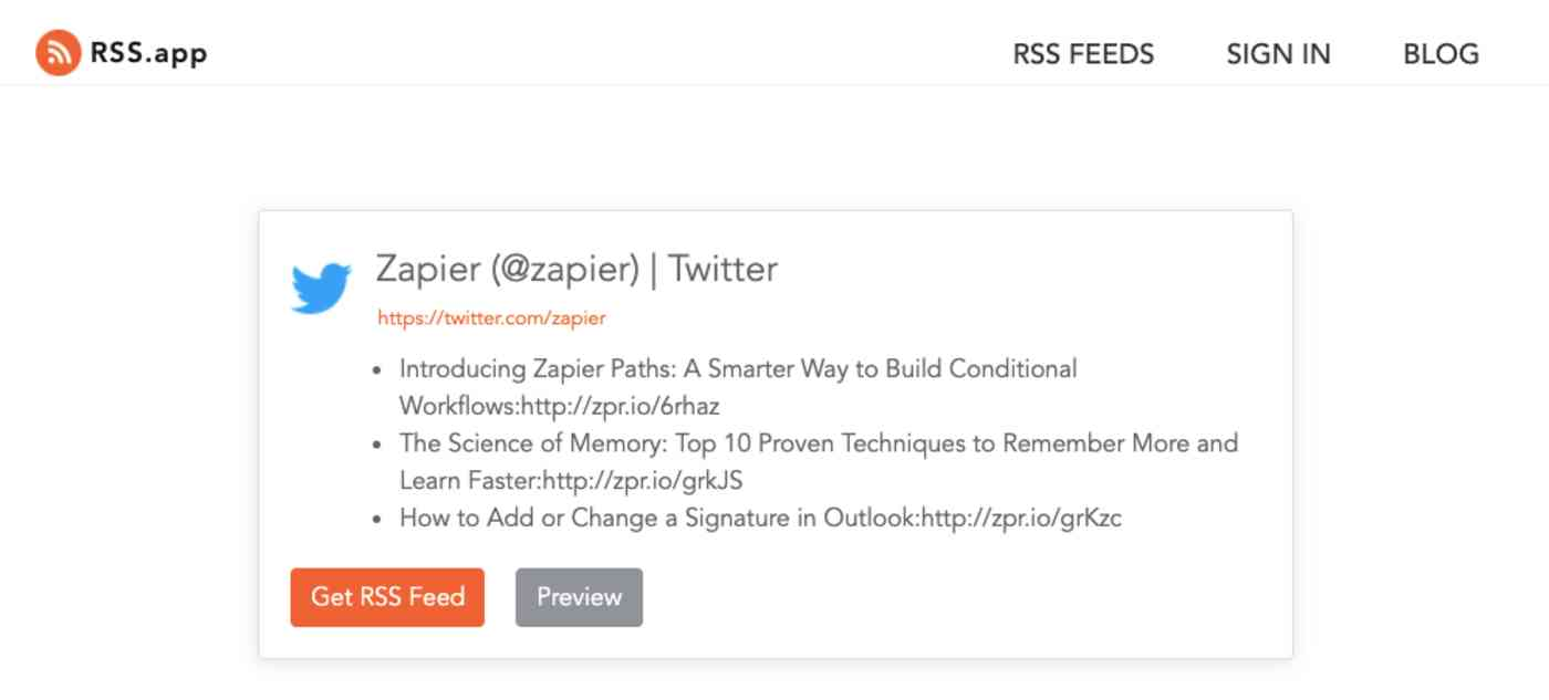Twitter account RSS feed