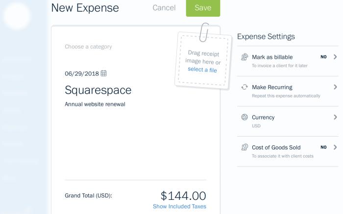FreshBooks expense tracking screenshot