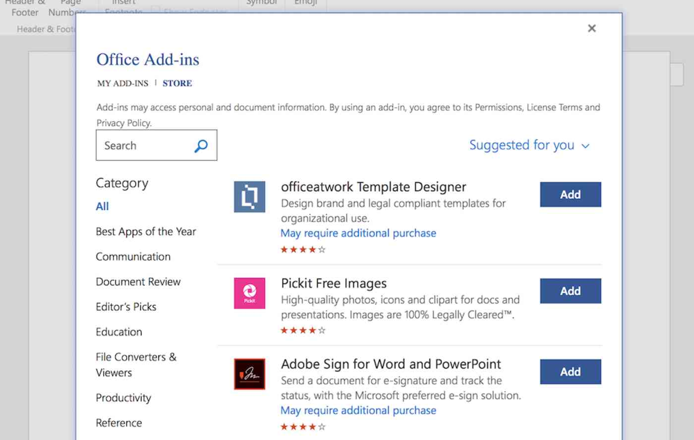 Browse add-ins in Word Online