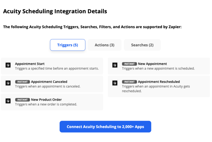 A screenshot of the integration details section of the Acuity Scheduling page showing triggers for appointment start, new appointment, appointment canceled, appointment rescheduled, and new product order, plus buttons to see actions and searches.
