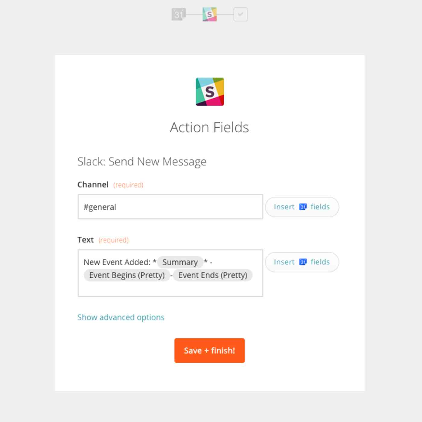 Zapier Slack Google Calendar integration example