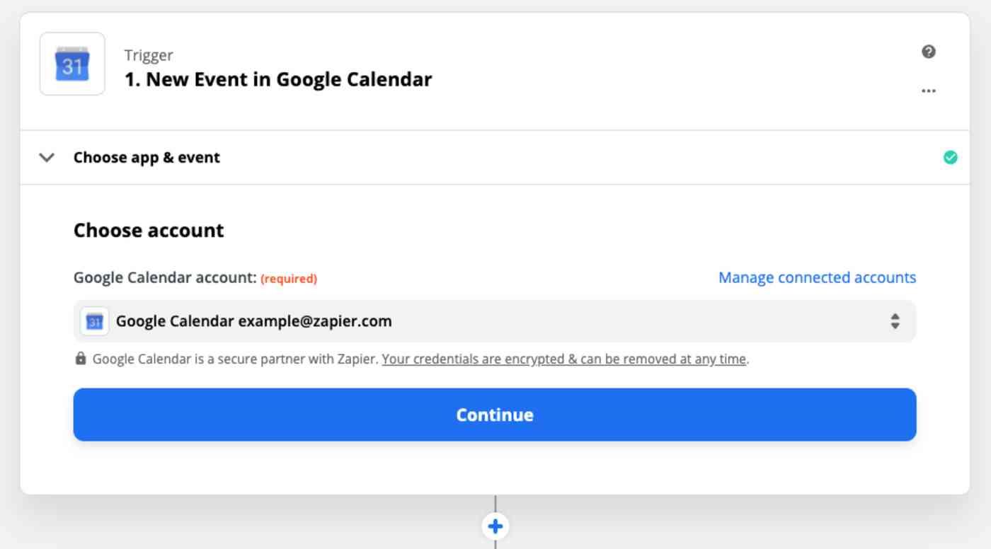 "Zap Trigger set-up: ""New event in Google Calendar"": Choose account"