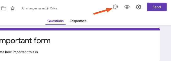 The palette icon in Google Forms settings