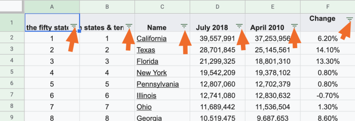 Filter icon in Google sheets