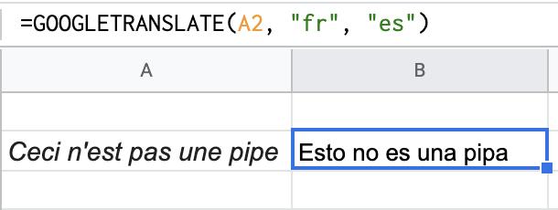 Translating French to Spanish with Google Translate
