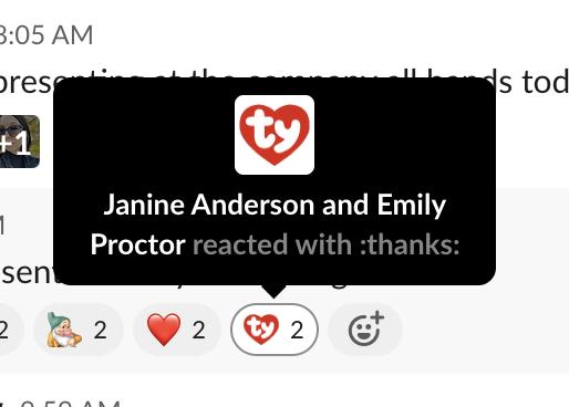 A red TY emoji under a message