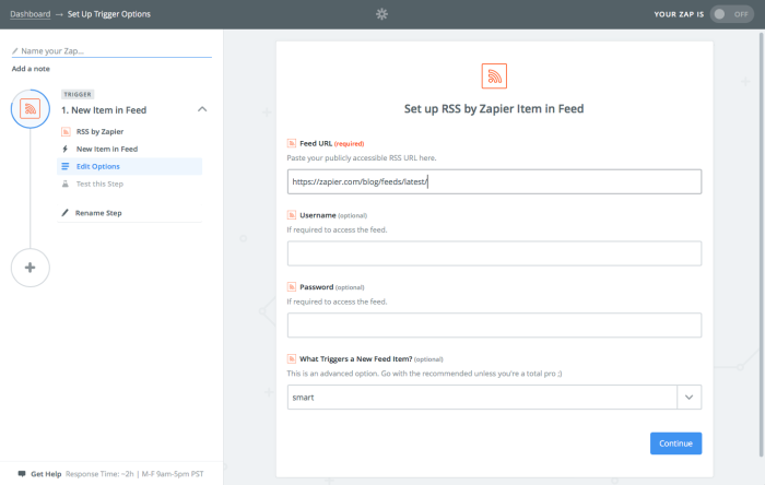 Zapier RSS integration