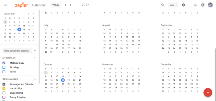 Google Calendar Year View