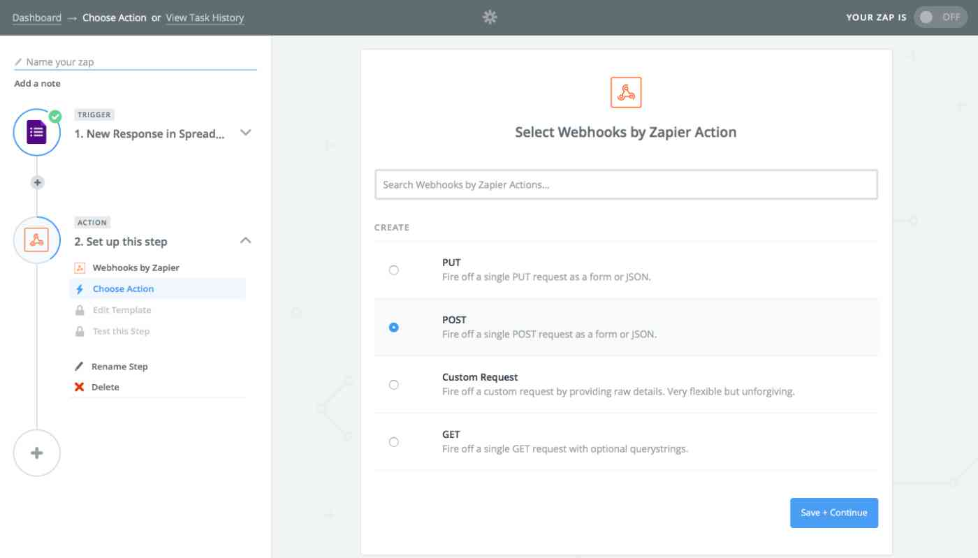 Zapier webhook action