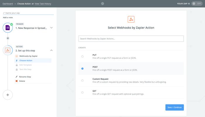 Zapier webhook action