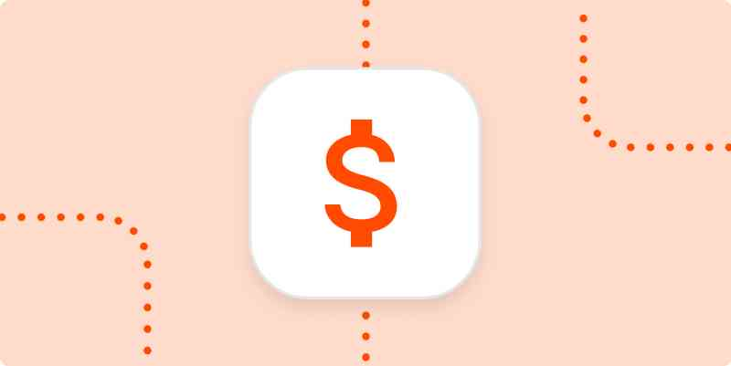 A dollar sign in a white box on a light orange background.