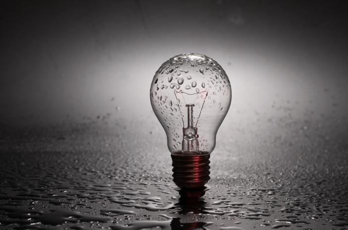 light bulb with rain on it