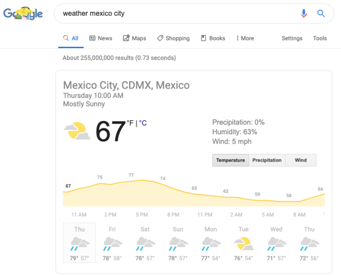 weather forecast in Google Search