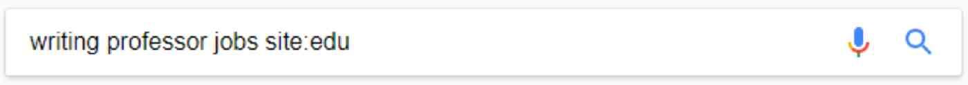 Google search for writing professor jobs site:edu