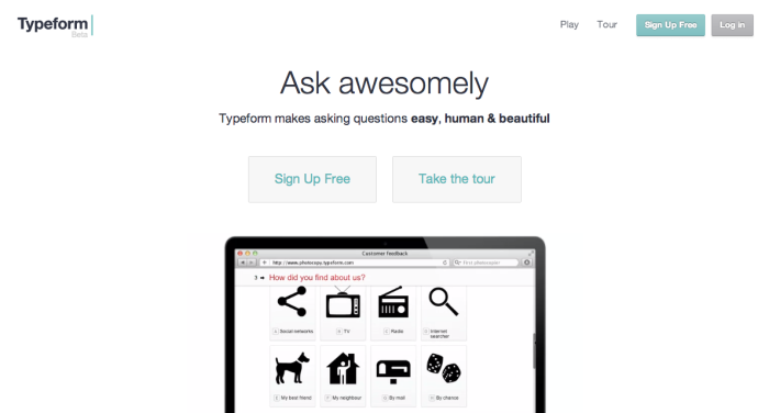 Typeform is a form app that lets you create quick, colorful, and interactive forms that people want to use.