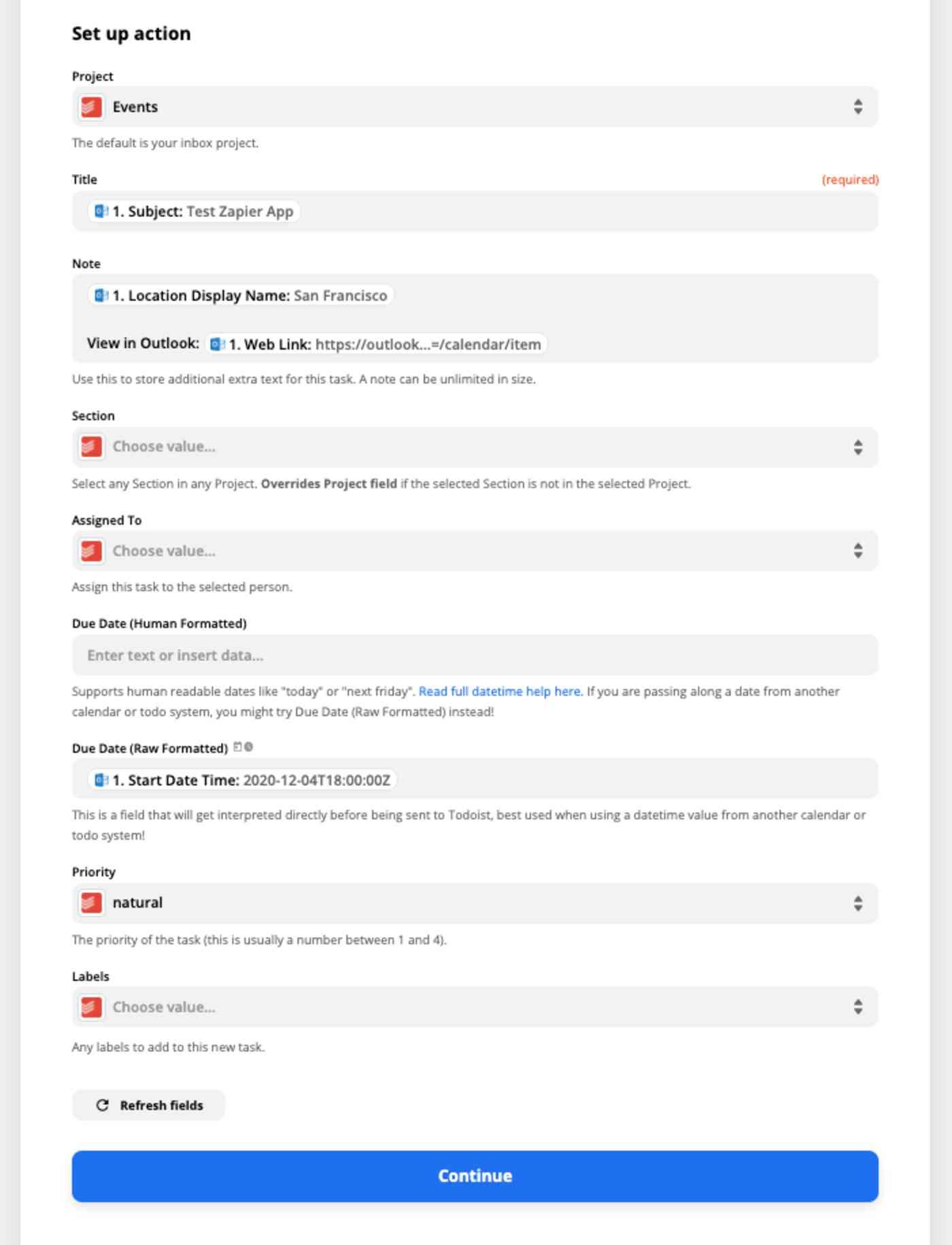 Zapier Action set-up details