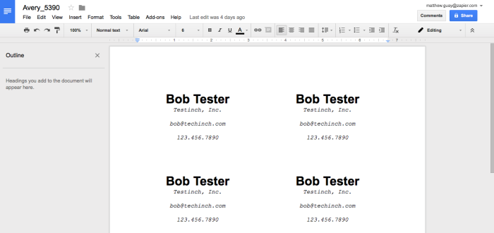 Avery labels in Google Docs