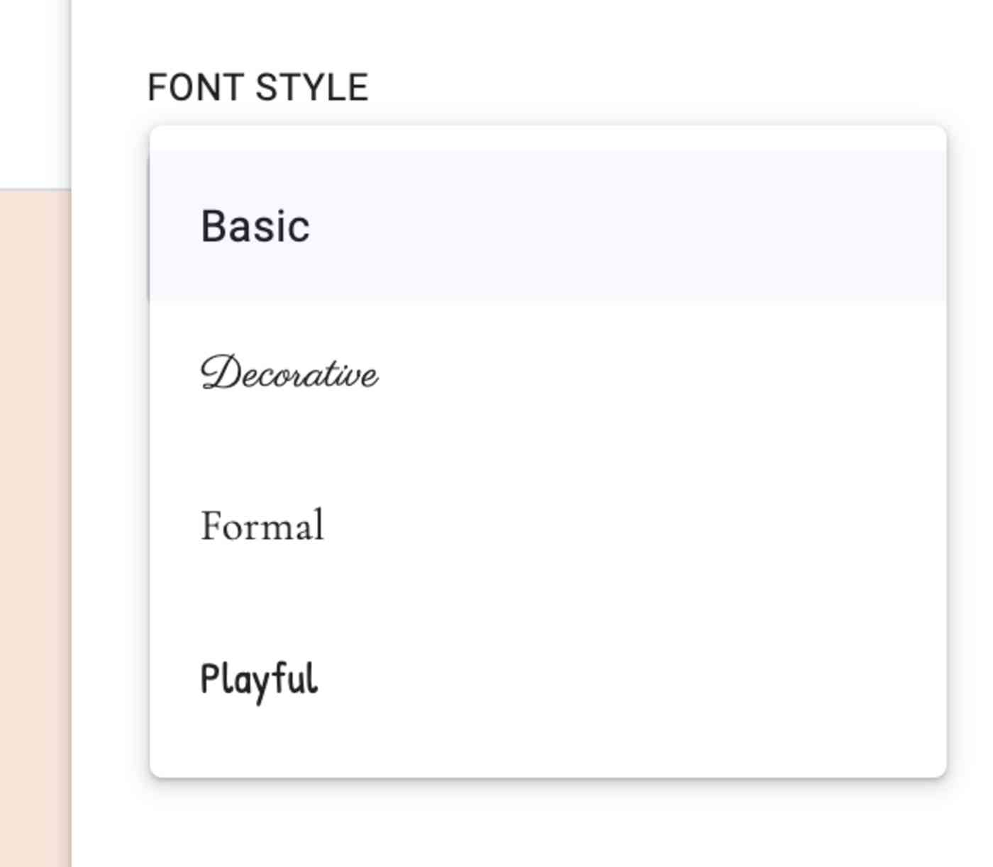 The four font choices