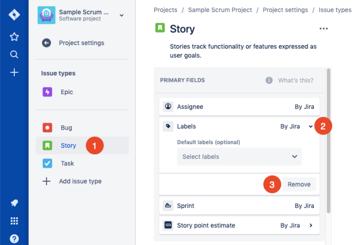 remove fields from issue types in Jira