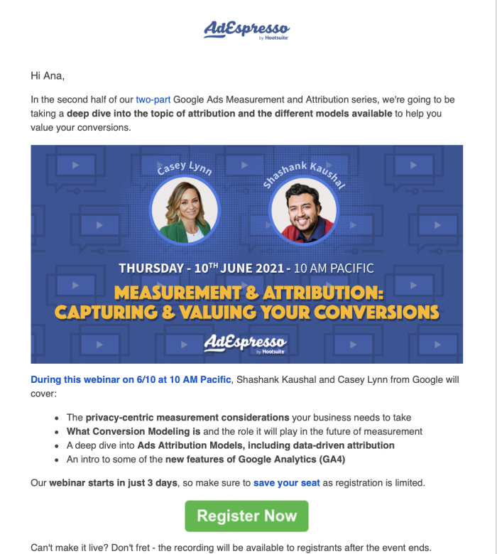 Screenshot from AdEspresso's content promotion email