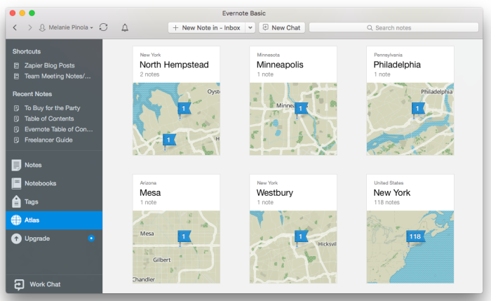 Evernote map view