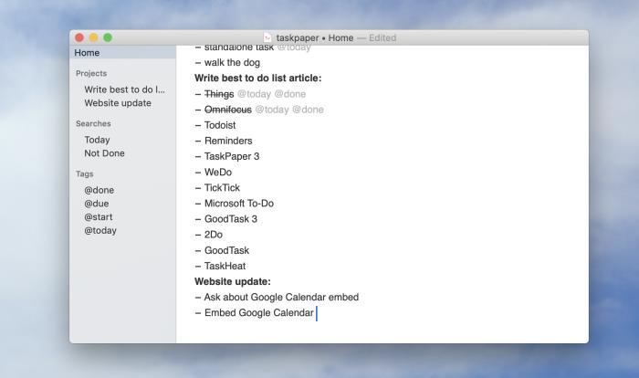 TaskPaper screenshot
