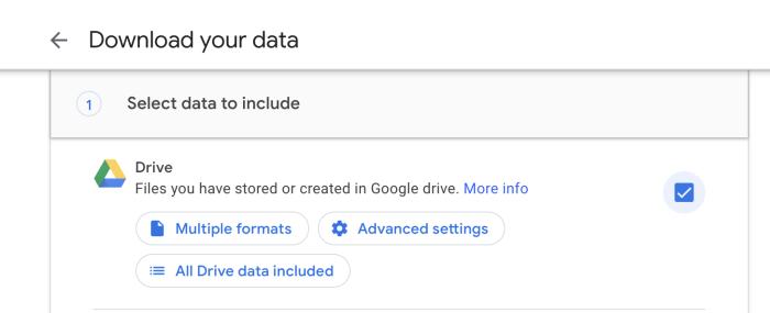 Opciones de copia de seguridad de Google Drive