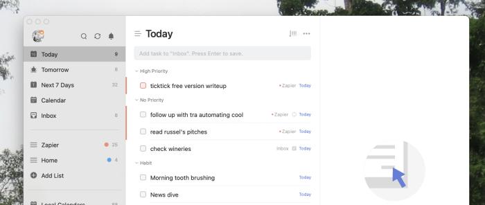 A screenshot of TickTick