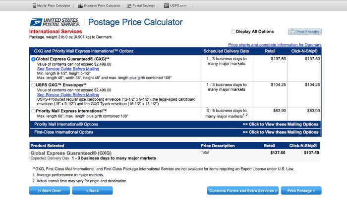 Calculadora de tarifas de envío de USPS